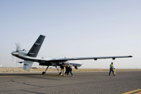 The much larger MQ-9 Reaper UAV, note the twin hellfire mounts underwing and the size of the ground crew compared to the Predator above