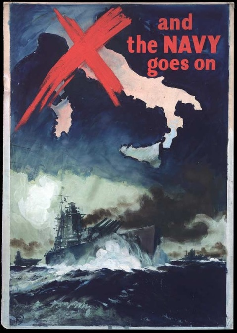 And the Navy goes on (World War II) Invasion of Sicily poster British RN Rodney Nelson