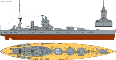 HMS Rodney profile drawing