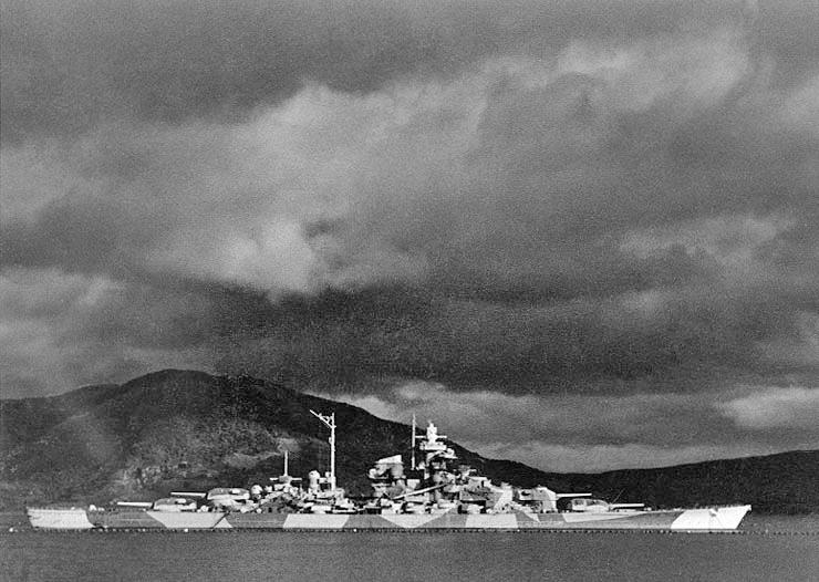 German battleship Tirpitz in the Alta Fjord, Norway, during World War II. Her and Big Al never met...