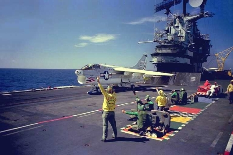 A-7B of VA-215 standing by on catapult of USS_Oriskany (CV-34) in 1976.