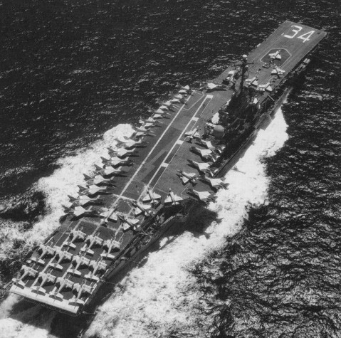 With Carrier Air Wing 16 aboard, January 1968. Just count all of those A4s and Vigilantes!