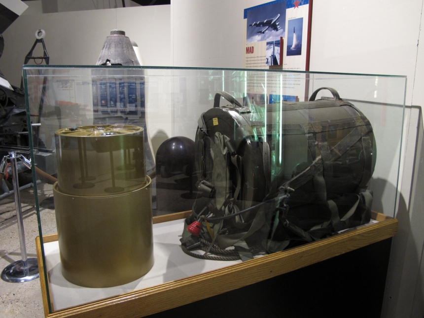 A SADM on display in New Mexico (inert of course) left is the device housing, right is thebackpack