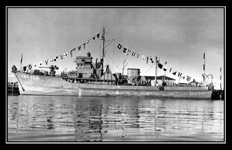 Her sistership, USS YMS-328, one of the few YMS ships still around  was bought after the war by a fellow named John Wayne who is considered to be something of a classic actor or sorts. Rechristened the Wild Goose, she still plies the California coastline.