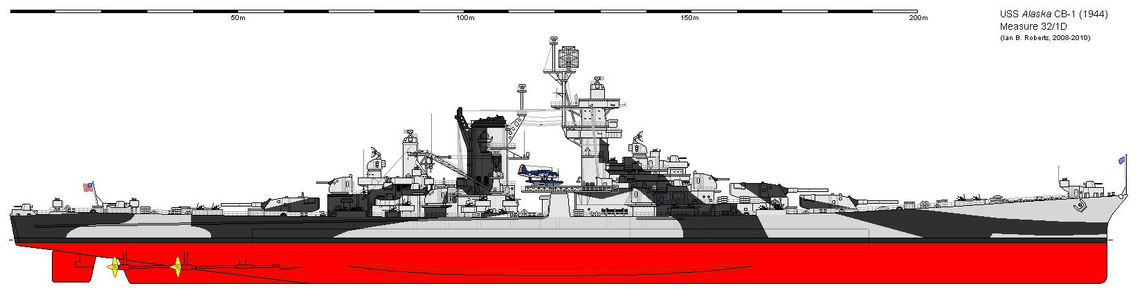 Outboard profile of USS Alaska (CB-1) in 1944. Camouflage paint scheme is USN Measure 32 1D
