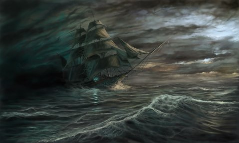 The Flying Dutchman is a legendary ghost ship that can never make port, doomed to sail the oceans forever.