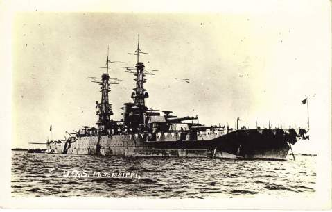 Mississippi as a brand new battleship in WWI complete with lattice masts and disruptive anti-U boat camouflage