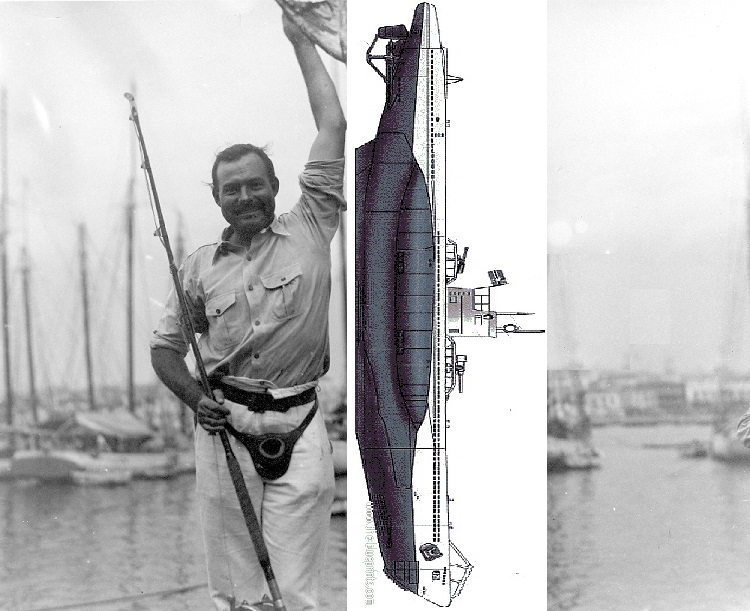 Hem never did catch that Uboat....(image by Gina Sanders from a 1934 picture of Hem in the JFK collection)