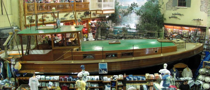 a mock up of the Pilar is at the Bass Pro Shop in Key West, adrift on tshirts