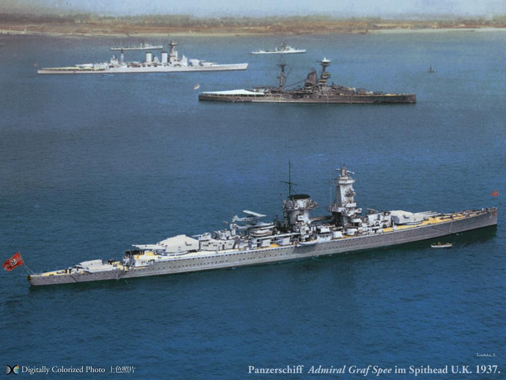 Kriegsmarine Panzerschiff Admiral Graf Spee im Spithead U.K.