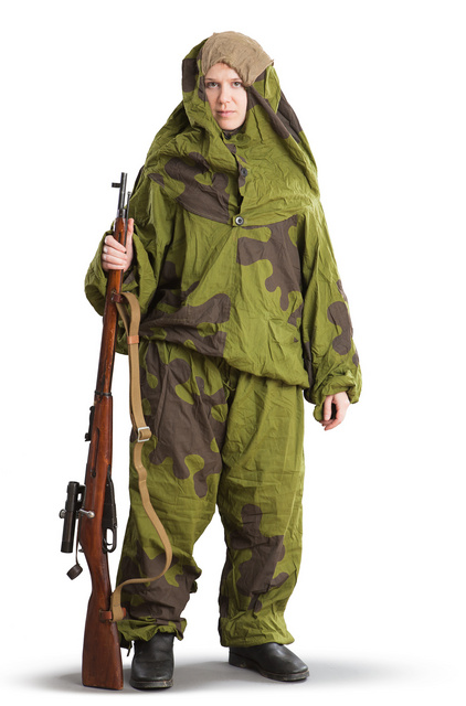 "Soviet ""Ameba"" suit often used by snipers during WW2. Mosin 9130 rifle with 3.5x PU scope"