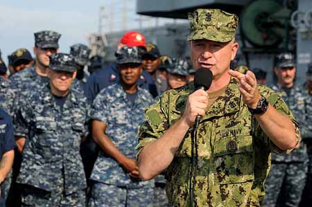 These two types of navy camo, as well as the four types of army camo, two types of USAF camo, and the Marines MARPAT could all be homogenized into a single uniform guaranteed to make everyone equally miserable!