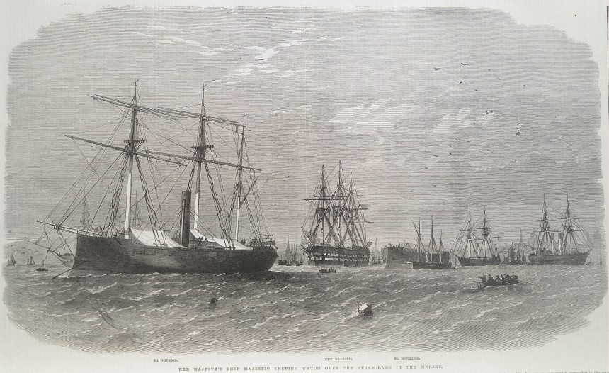El Monassir/CSS Mississippi forground being watched by the HMS Majestic while the El Tousson/CSS North Carolina sits at the rear