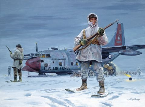 Guarding for polar bears while your C130 on skies unloads supplies. I'm cold just looking at this...