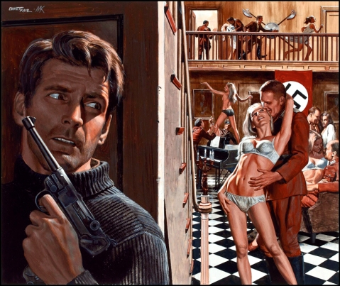 the luger has been a staple of pulp fiction for decades as seen in this 1950s illustration by Mort Kuntsler