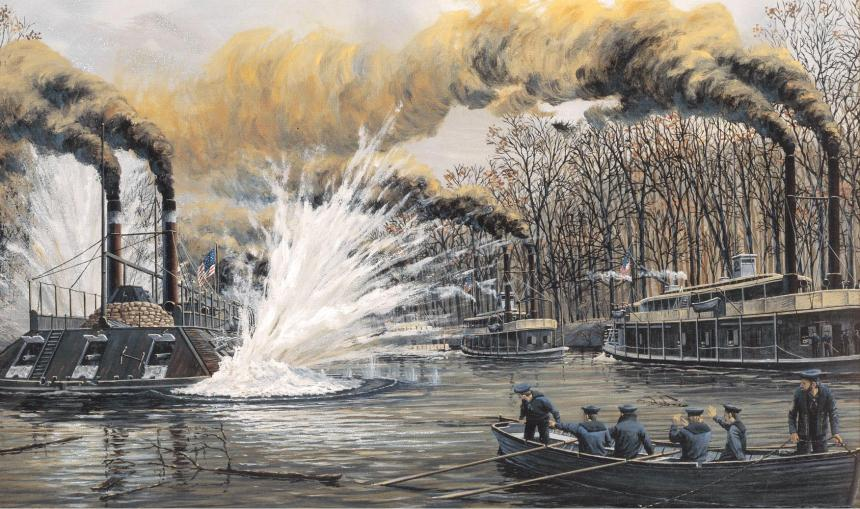 Her sistership, the equally unlucky USS Cairo, was sunk by a mine in similar fashion 12 December 1862. Raised in 1964, she is now on display at the Vicksburg military park, some about 75-miles from where the DeKalb sits in Lake Yazoo.