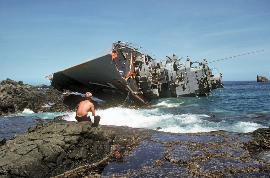 The former USS Boothe hard aground after a typhoon in 1981. This left the PI Navy with but two destroyer escorts...