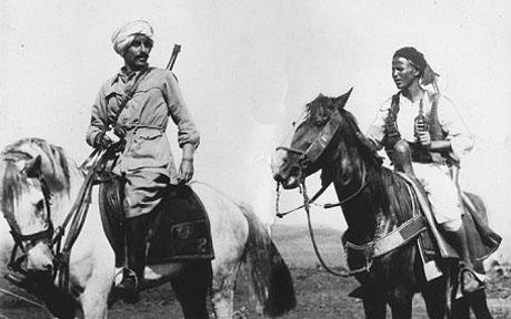 Amedeo Guillet with Spahy di Libya, Ethiopia 1936 of the Gruppo Bande Amhara