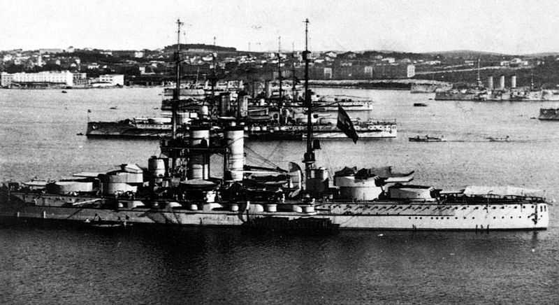 Just look at all of those pretty Austrian battleships at anchor in Pula harbor. Here you see  Austro-Hungarian dreadnought battleships ( Tegetthoff class ) at the roadstead in Pula , Croatia , Which Was then a part of the Austro-Hungarian Empire.