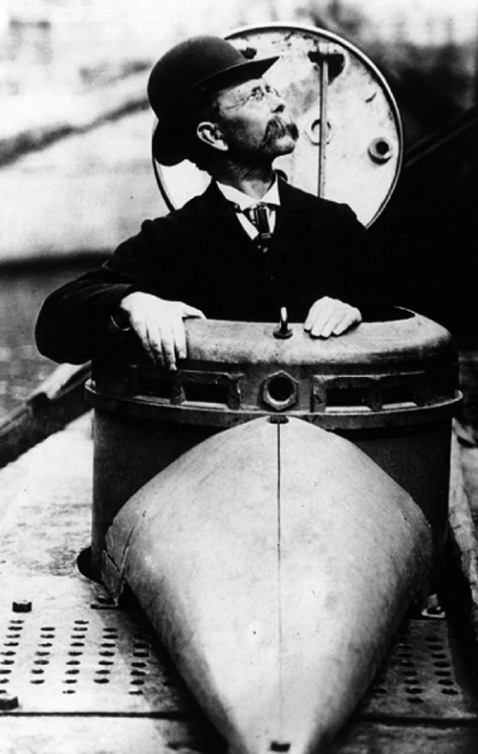 Mr Holland showing off his boat for the media. Nothing says 1900 submarines like bowler hats...