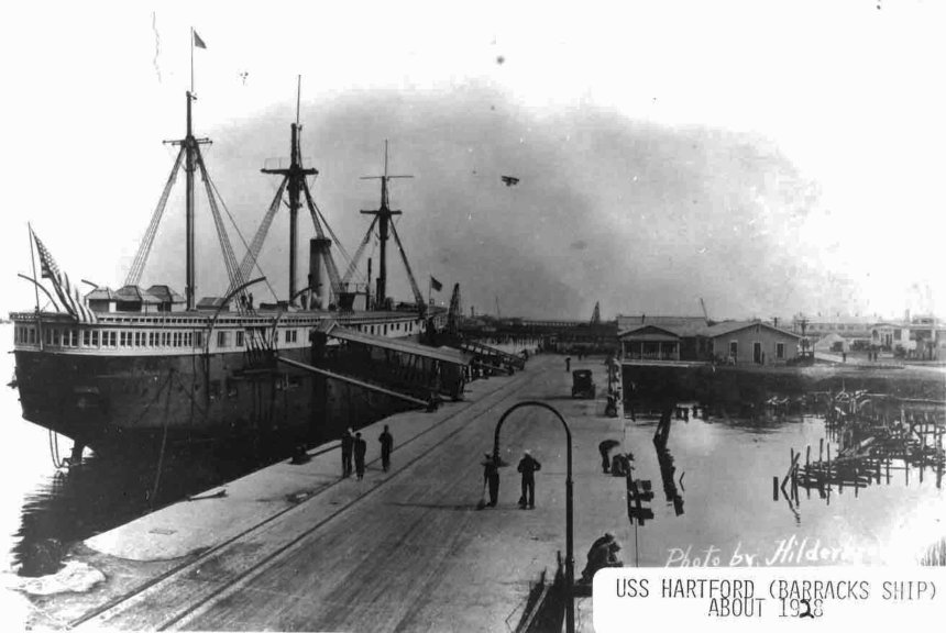 After her decommissioning in 1928, she became a barracks and receiving ship for another decade. Basically a floating hotel (BQ) for sailors between berths.