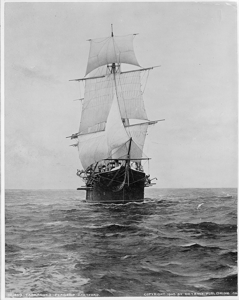 The Hartford at sea in 1905, nearly 50 years young