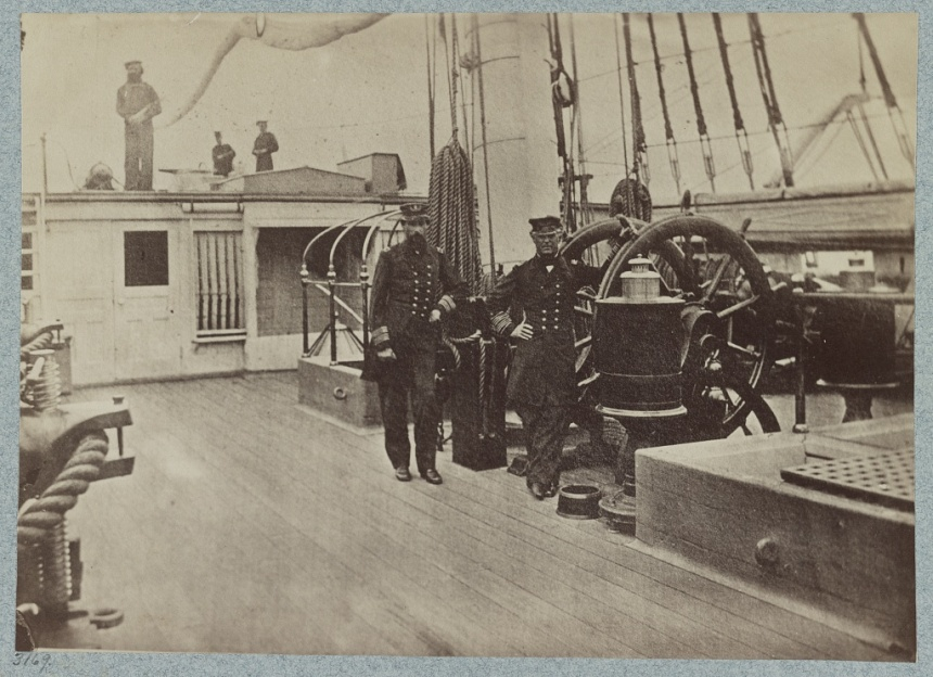 Admiral Farragut and the USS Hartford's Capitan Percival Deayton, USN, aboard the ship in 1864. Deayton was Hartford's 6th captain. Her last , CPT Earl Peck Finney Sr in 1923 was her 23rd. No less than a dozen of the men who walked the decks of Hartford at the Battle of Mobile Bay that year would become recipients of the Medal of Honor.