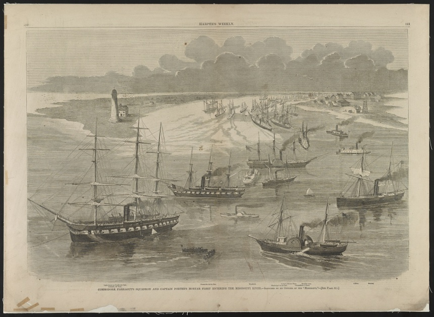 Hartford leading the Gulf Squadron up the Mississippi