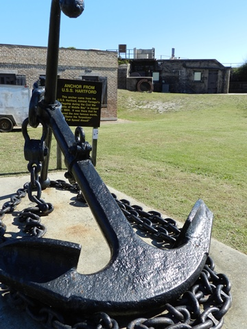 One of Hartford's anchors on the parade ground at Fort Gaines. During the Battle of Mobile Bay the sloop fired her guns into where her anchor now lay.