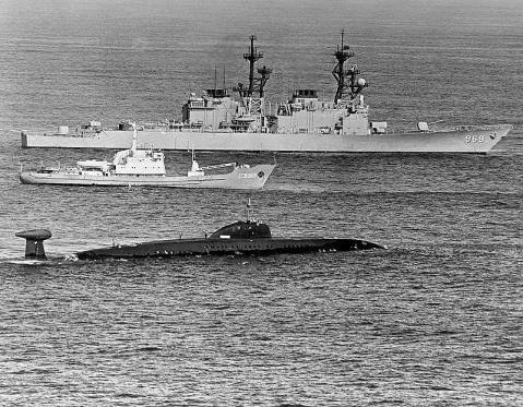 Spruance class destroyer USS Peterson (DD-969) with Soviet Moma AGS class survey vessel Nakhodka in the Sargasso Sea 1983 on the rescue op for Victor III K-324