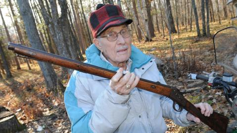 Ken Felt, rural Shevlin proudly holds his grandfathers blackpowder Husqvarna Model 1867 Rolling Block rifle which he successfully shot a deer from 100 yards away, first shot. Not bad for a 93 year old hunt who jumped on his four wheeler and harvested his doe shortly after that.