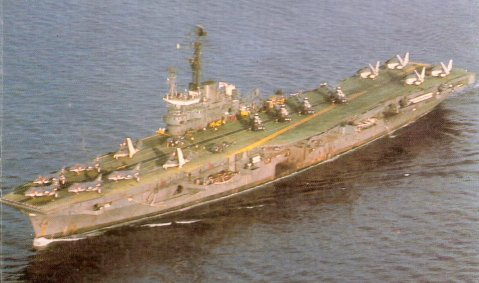 Vikrant in 1984 after many years of hard service. You can note the Sea Harriers, Sea King helicopters, Sea Hawks and Alize aircraft on deck