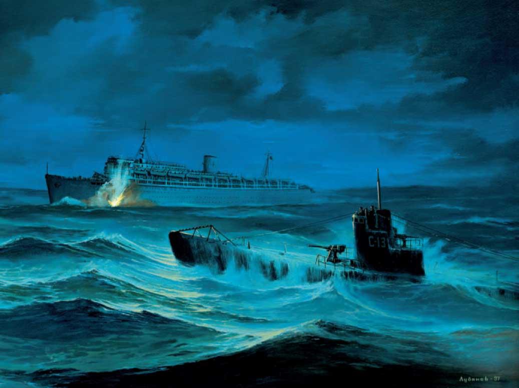 Soviet submarine S-13 shells the transatlantic Wilhelm Gustloff 13 of January 1945.