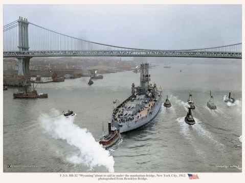 Wyomingabout to sail in under the manhattan-bridge, New York City, 1912.