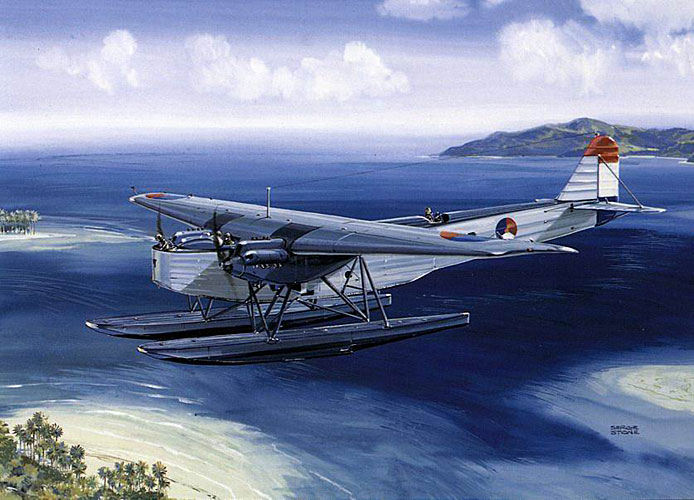 (Some 30 Fokker T.IV floatplanes were used by the Marine-Luchtvaartdienst; the naval aviation branch of the Royal Netherlands Navy to defend the Dutch East Indies. These lumbering beasts with thier two open-air cockpits could carry a single torpedo or upto 1,700lbs of bombs. Built in the late 1920s, they were all based at Soerabaja. The only succesful use of these planes in combat was ironically in bombing the De Zeven Provinciën) Painting by Segie Stone