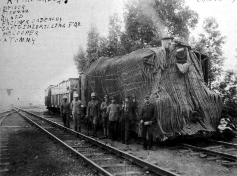 """A British armored train designed and manned by Terrible's crew during the Second Boer War, covered with 6 inch anchor rope, provided by the Royal Navy, to provide it protection. The improvised additional armor was the source of its name, """"Hairy Mary."""" (Photo from the McGregor Museum)"""