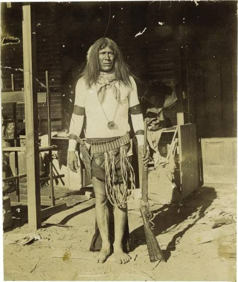 This 1880s Apache warrior is perhaps the best equipped of any soldier anywhere in the world at the time of this picture between his top break S&W revolver and his Evans repeater holding 34-rounds