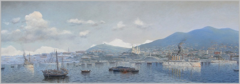 """Vladivostok cruisers in 1903. From left to right you have the Rossia, Bogatyr, Gromboi and Rurik (""""Russia"""", """"Hercules"""", """"Thunderbolt"""", """"Rurik"""") by Valery Shilyaeva"""