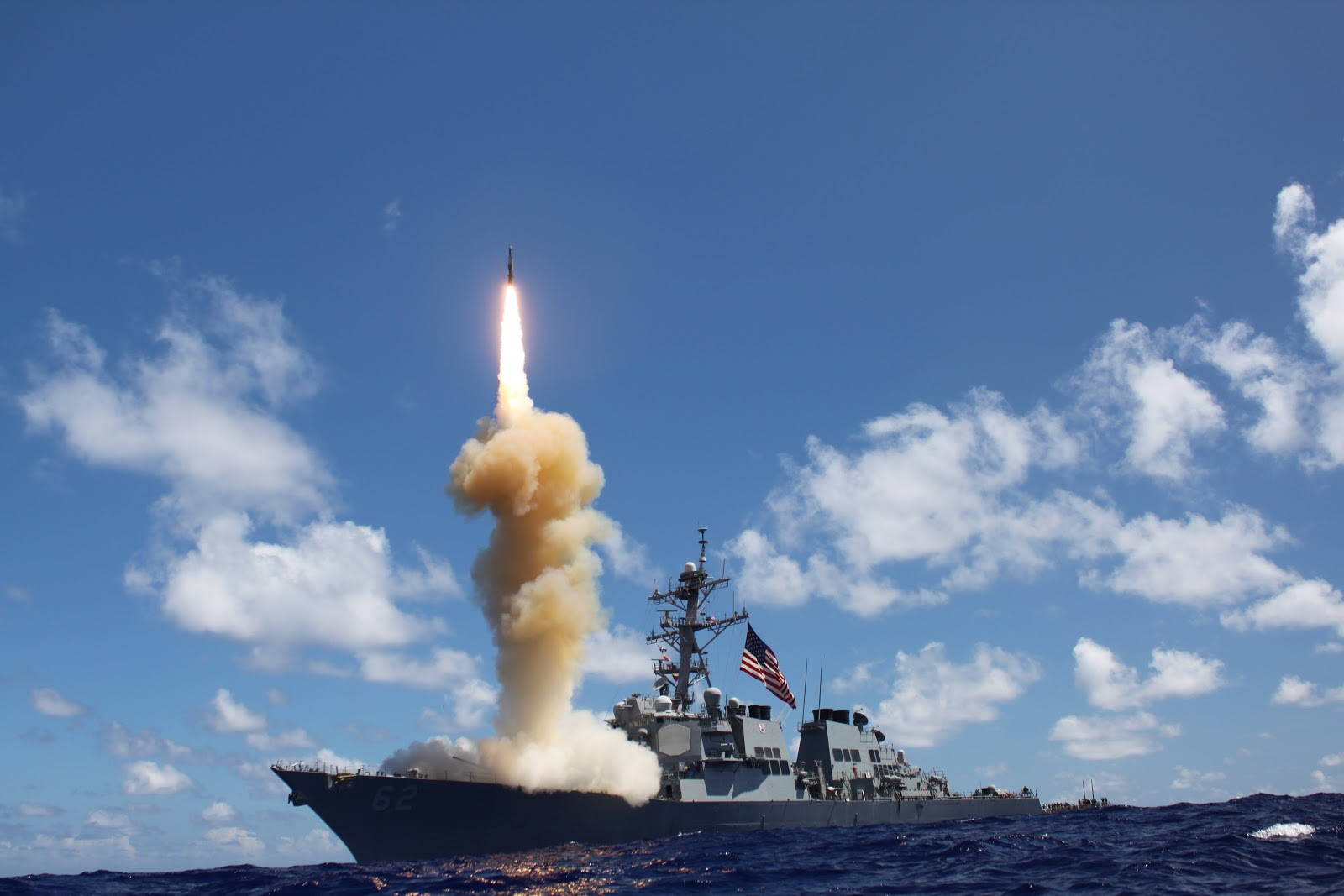 Standard Missile-3 (SM-3) launches from the guided-missile destroyer USS Fitzgerald (DDG 62) as apart of a joint ballistic missile defense exercise. The new ABM capable DDGs carrying the SM-3 will provide a limited missile umbrella over Europe and North Africa