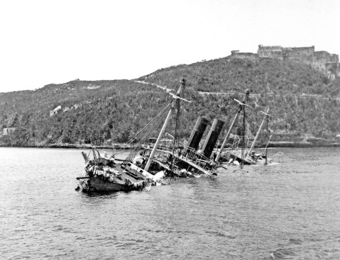 The 3000-ton largely disarmed Spanish cruiser Reina Mercedes, sunk in Santiago, Cuba 1898 after scuttling following an engagement with the USS Massachusetts
