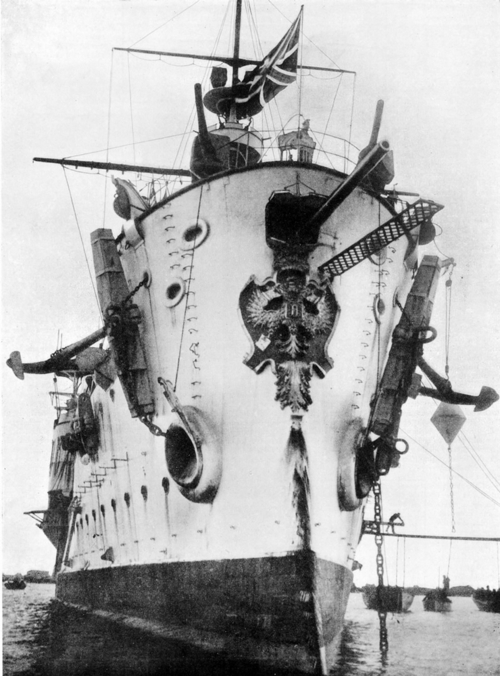 Note the Romanov eagle on her bow and the Imperial Russian Naval ensign fluttering. This ship was made to show the flag around the world