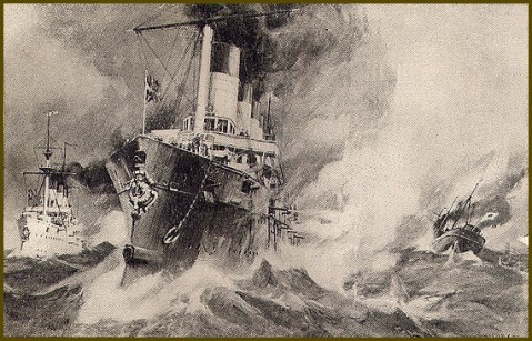 Rossiya and Gromoboi sinking the unarmed wallowing 1,000-ton freighter, the Nakanoura Maru, built in 1865, just days after the war started in Feb 1904.