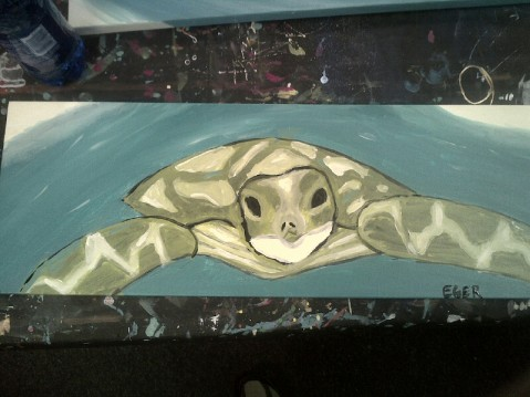 And a little cream to tone him down. Happy little turtle.