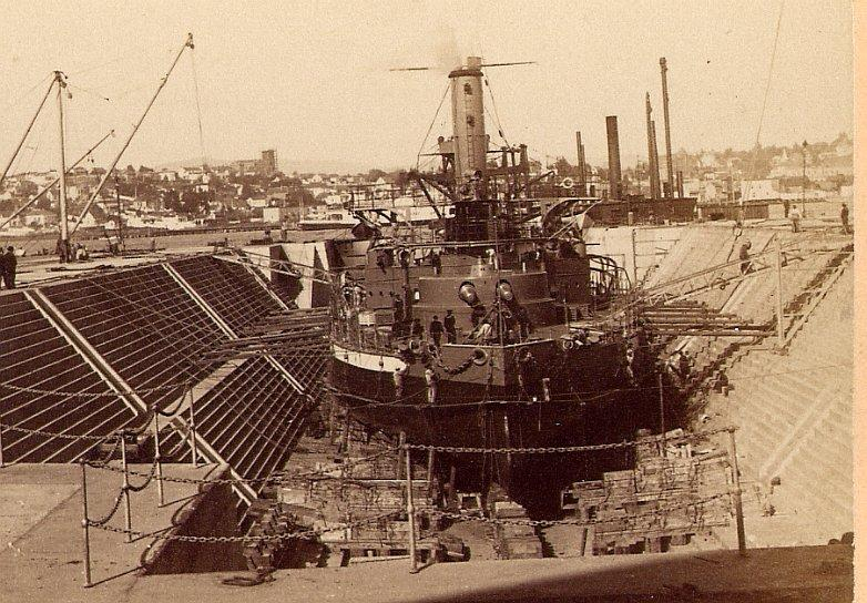 The new monitor being fitted out in the historic dry-dock at Mare Island. This dock still exists and may soon house the old cruiser relic (and Dewey's flagship) Olympia.