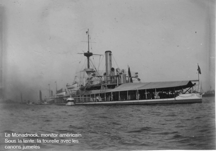 A French image of her in Chinese waters. Note the extensive canvas awnings and small boats.