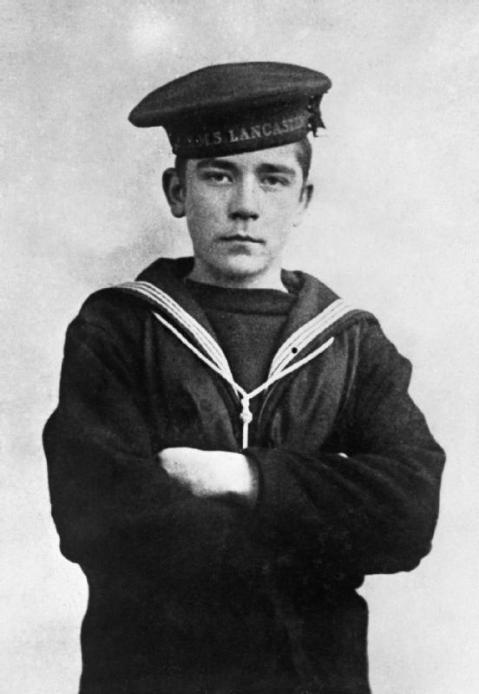Jack as a 15 year old Boy assigned to the training ship, the old armored cruiser H.M.S. Lancaster which was based at Chatam during WWI to train gunnery crews.