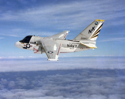 Aerial view of a US Navy (USN) S-3 Viking aircraft, from the Sea Control Squadron 37 (VS-37), Sawbucks, based at Naval Air Station (NAS) North Island, California (CA).---Man that paint scheme.