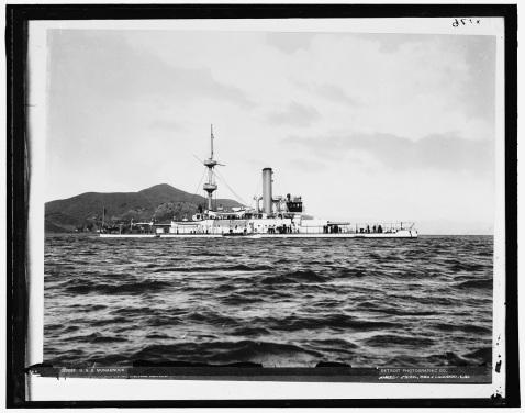 USS Mondanancok 1896 San Fransisco in her gleaming white scheme