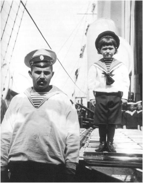 Alexei with Andrei Derevenko, one of the two sailor-nannies from the Royal yachts who would remain by his side for more than a decade. While Derevenko would desert the family after the Revolution, the second sailor, Klementy Nagorny would remain with them until they were executed in Siberia in 1918. Taken from the Imperial family days before the final act, his final fate is uncertain.