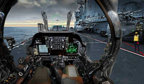 Harrier pilot's view as he prepares to take off from aircraft carrier HMS Ark Royal